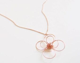 4 Petal Rose Gold Necklace