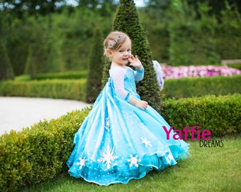 delux elsa dress disney princess costume halloween outfit frozen snowflake queen cosplay blue girl gown christmas birthday gift toddler