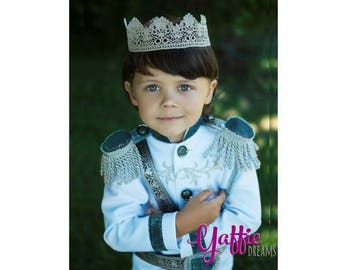 Ring Bearer wedding suit for boy Prince Charming outfit for boy Disney Inspired Halloween costume silver king crown photo prop birthday gift