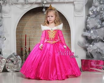 Pink Princess Aurora dress Disney Halloween costume flower girl gown cosplay Sleeping Beauty Rose princess birthday christmas gift for girl  sc 1 st  Etsy & Pink princess dress   Etsy