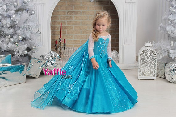 Elsa Dress Disney Princess Costume Halloween Outfit Frozen Snowflake Queen  Cosplay Blue Flower Girl Gown Christmas Birthday Gift Toddler