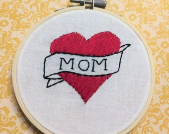 Traditional MOM Tattoo Embroidery 4""