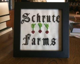Schrute Farms *framed cross stitch*