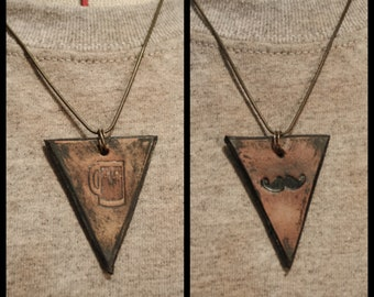TWO Leather Dystopian Necklaces- Moustache + Beer Stein Bundle