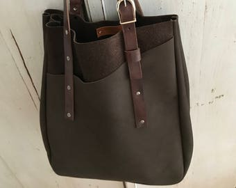 Brown leather tote bag boho style