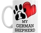 German Shepherd Alsatian Mug, Coloured Mug, Bone China Cup, Travel Mug, Enamel Mug, Pen Pot, Ceramic Money Pot or Water Bottle With Straw