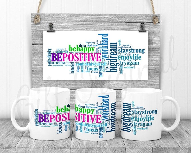 Positive Vibe 11oz Mug Template PNG Full Wrap Design for image 0