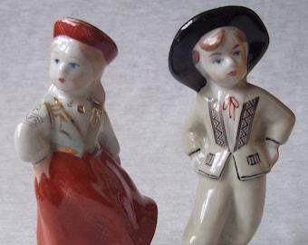 "Vintage Handpainted Porcelain figurines ""The Dancing Couple"", Riga Porcelain Factory, Latvia USSR 1950s-1960s"