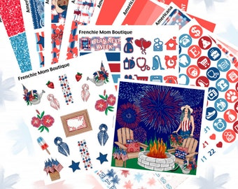 4th of July Happy Planner Sticker Kit Full Boxes Checklists Functional Boxes Headers Side Bar Washi Glitter Glossy Planner Stickers
