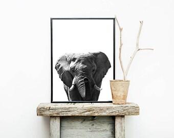 Elephant Print Minimalist Black And White Scandinavian Poster Decor Wall Art Modern