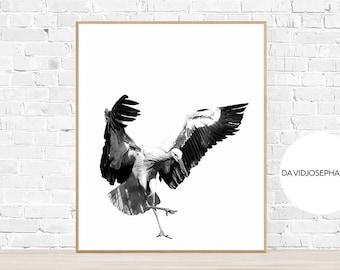 Stork Print, Bird Wall Art, Modern Print, Minimalist Print, Stork Decor, Living Room Print, Nursery Wall Art, Digital Download, Animal Photo