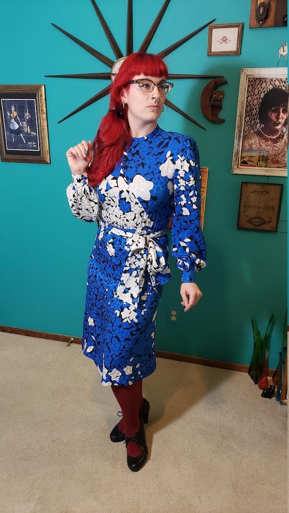 Vintage 1980s Lilli Ann Schuman 100% silk dress f… - image 1