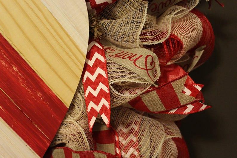 Red Burlap Deco Mesh Wreath Valentine\u2019s Day Wreath