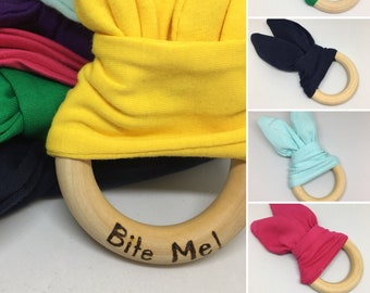 Bunny ear sensory Montessori inspired teething ring