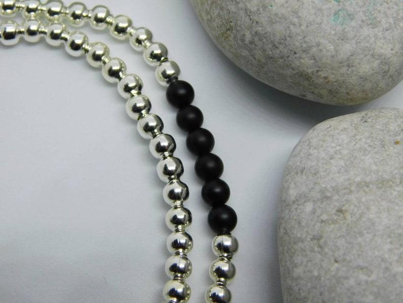 Stretch Bracelet Gemstone Complete Gift Silver and Black Beaded Bracelet Black Agate Onyx Bracelet Gift Ideas For Women