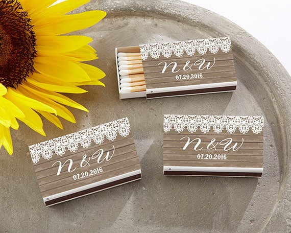 Wedding Matchbox 50 pcs Fancy Border Initials Design Personalized Matchbox with Stickers - Assembly Required PPD-AS5999881