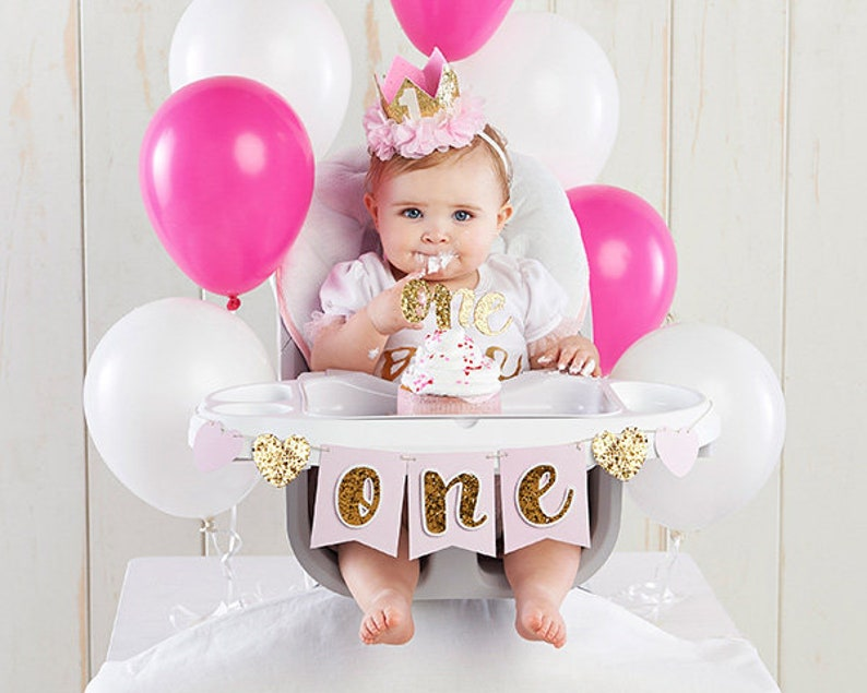 Gold Glitter And Pink Girls 1st Birthday Party Decor Kit ONE