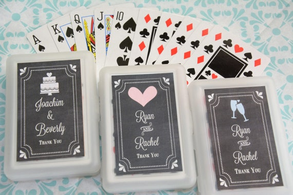 50 Decks Personalized Playing Cards Chalkboard Wedding Favor Etsy