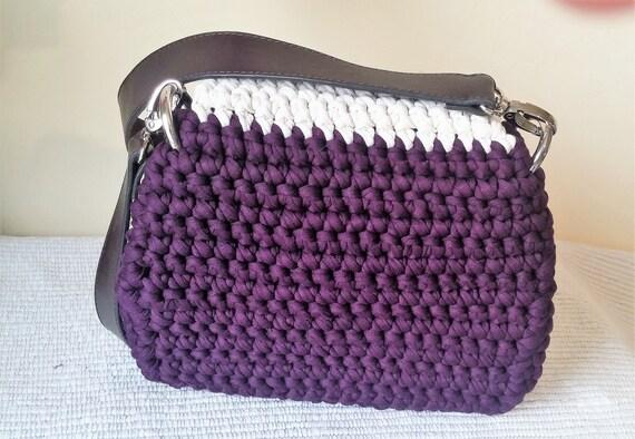 Shoulder A Fashion Accessories Strap Trapilho In Plum Made Beige And Textile Leather Main Crochet Sac Yarn wkiOTPXZu