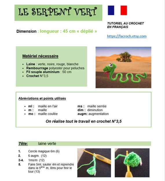 Tutoriel SERPENT VERT - flexible à accrocher partout ! - snake -crochet- -  Amigurumi pattern - français - tutoriel débutant