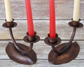 Hammered Copper Candlestick Holder 1930s Craftsmen 727 w Anvil Hammer Logo Set 2 Boho Chic Copper Candelabra Rustic Primitive Gift Her Him
