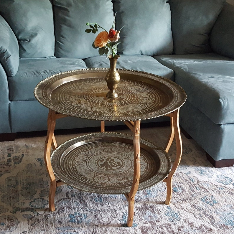 MCM Brass Tray Table Large 2 Tier Engraved Gold Trays ...