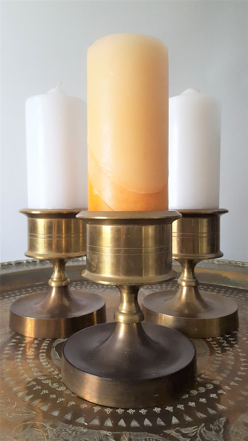 Vintage Heavy Brass Candle Holders Set of 3 Mid Century Gold Candlestick Table Decor Bohemian Retro Chic Rustic Metal Bronze Decor Gift Idea