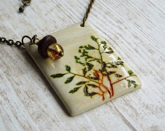 Spirit botanical - Rectangle pendant necklace imprint plants, gardening, Nature necklace gift necklace, wild herbs wild plants