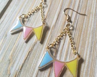 Soft Primary Pennant Earrings