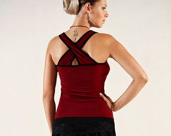 Wine Red Tango Salsa Top with Back Crossed Straps