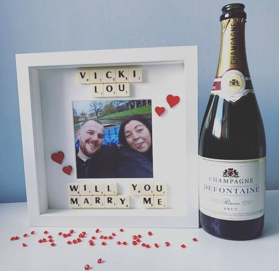 Will You Marry Me Scrabble Box Frame Etsy