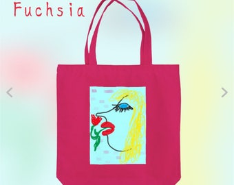 Tote shopping daily school colourful canvas cotten bag Blue eyes woman
