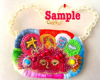 Bead embroidered necklace (Custom made)