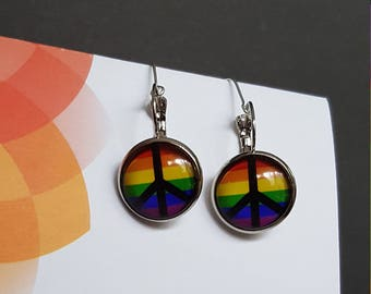 Rainbow Peace Cabouchon Earrings