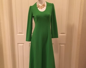 Vintage Maxi Dress/Green Long Sleeve Dress/Long Dress