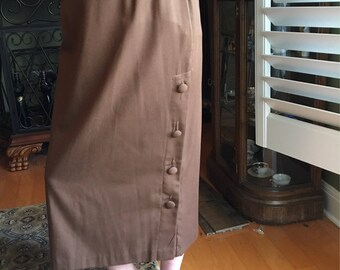 Vintage Long Skirt Willow Ridge Side Button-up Brown Skirt