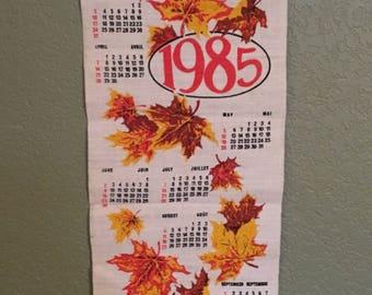 1985 Vintage Tea Towel Calendar • Burlap Calendar • Vintage Hanging Calendar Canadian