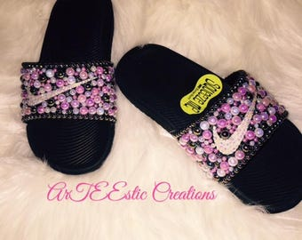on sale 8ac90 023d5 Kids Bling Nike Slides Kids Pearl Nike Slides