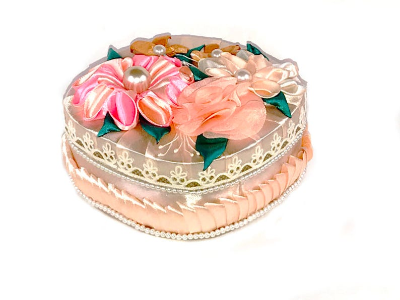 Pink Storage Fabric Decorated Box Lace Box Flowers Embroidered Etsy