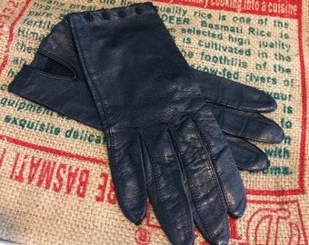 Vintage Handmade Italian Black Leather Madova Glove Soft Driving Gloves
