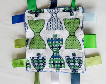 Baby Boy Crinkly Tag Toy / Baby Sensory Toy / Bow Tie Sensory Toy