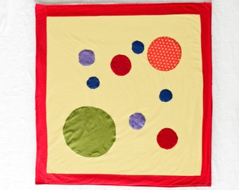 Circles Baby Blanket / Tummy Time Mat / Sensory Blanket with Crinkle / Activity Blanket