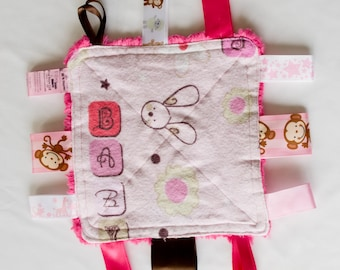 Baby Girl Crinkly Tag Toy / Baby Sensory Toy
