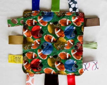 Football Crinkly Tag Toy / Baby Sensory Toy