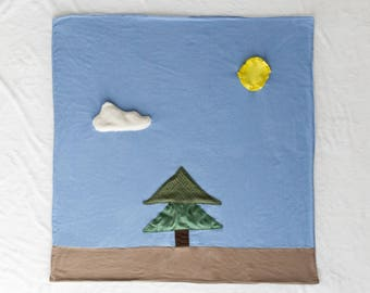 Lone Pine Baby Blanket / Tummy Time Mat / Sensory Blanket with Crinkle / Activity Blanket