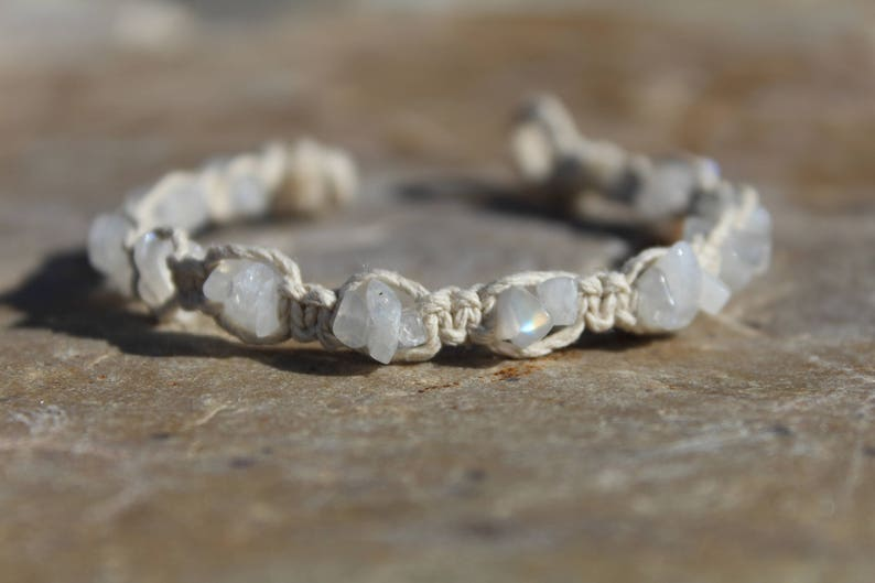 Moonstone Hemp Bracelet: Increase Psychic Vision, Clairvoyance, Protection,  Intuition, Anxiety and Insomnia Relief