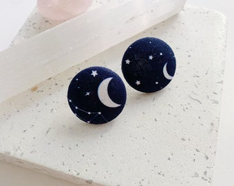 Starry Sky - Pair of fleas made of recycled fabrics moon and stars