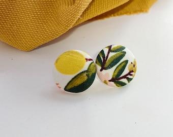 Pair of fleas made of recycled fabrics foliage and lemons