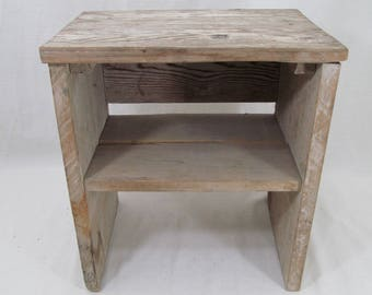 Vintage Rustic Shabby Chic End Table with shelf