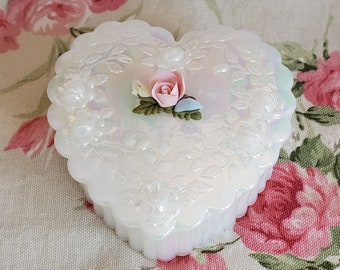 Heart Shaped Trinket Box by Fenton Opalescent Glass Candy Dish Trinket Dish Ring Box Gift Valentine/'s Day Box FREE DOMESTIC SHIPPING